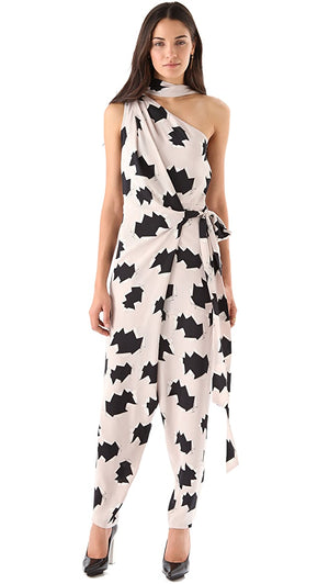 Diane von Furstenberg Spina-Print One-Shoulder Silk Jumpsuit