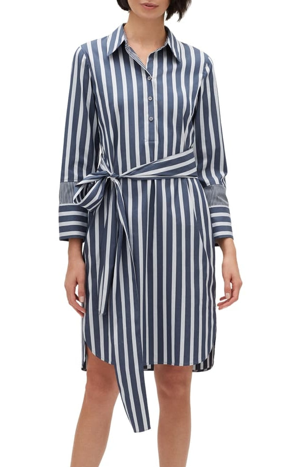 Lafayette 148 Striped Belted Shirtdress