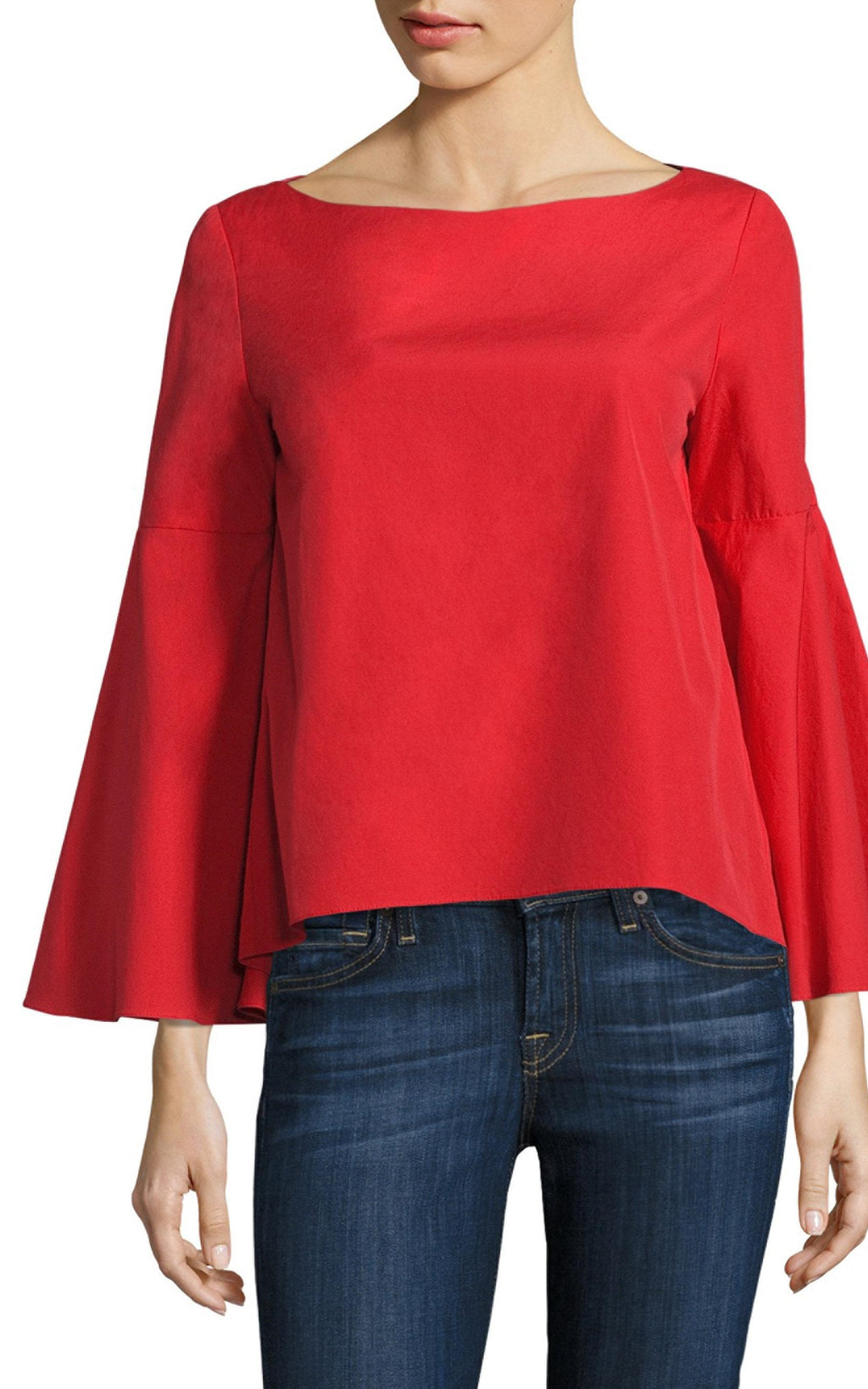 Alice + Olivia Bateau Neck 3/4 Red Sleeve Blouse