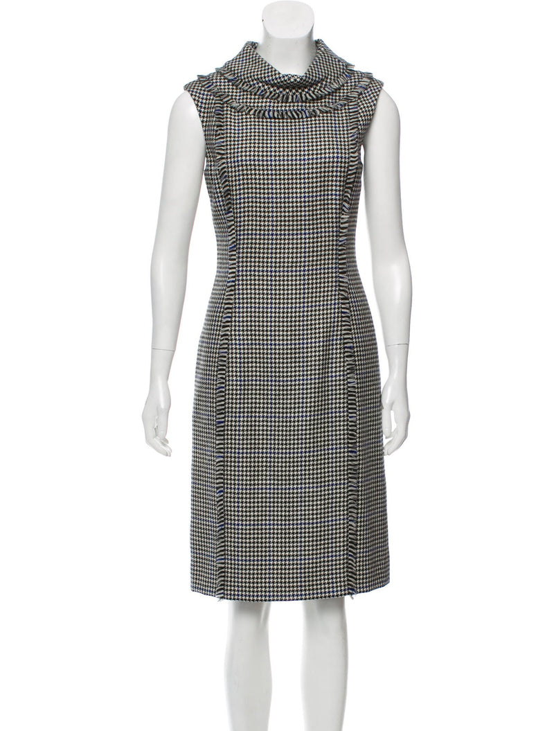 Oscar de la Renta Vintage Virgin Wool Houndstooth Dress