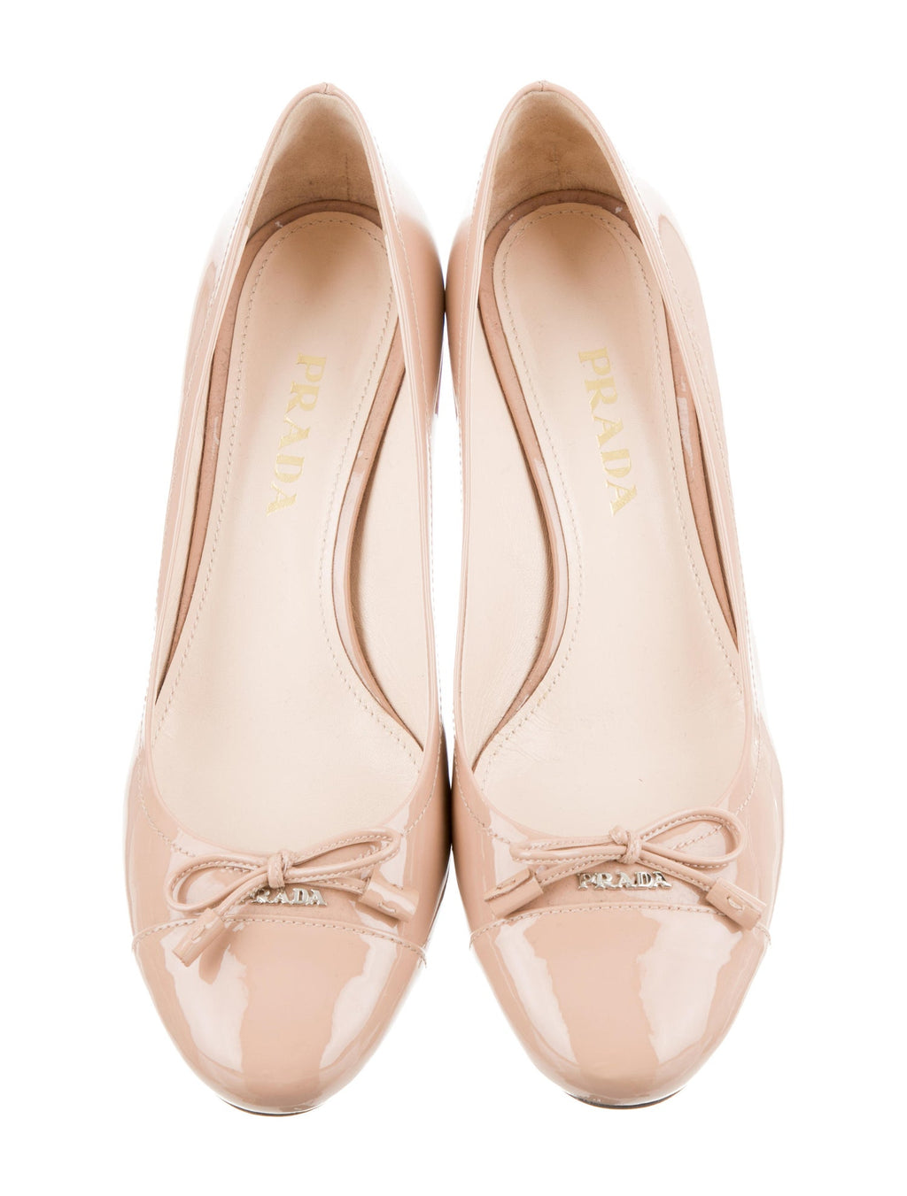 Prada Patent Leather Round-Toe Logo Pumps