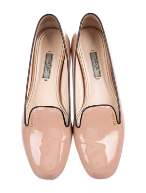 Prada Patent Leather Square-Toe Logo Loafers