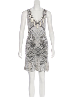 Roberto Cavalli Damask Fluted Mini Dress