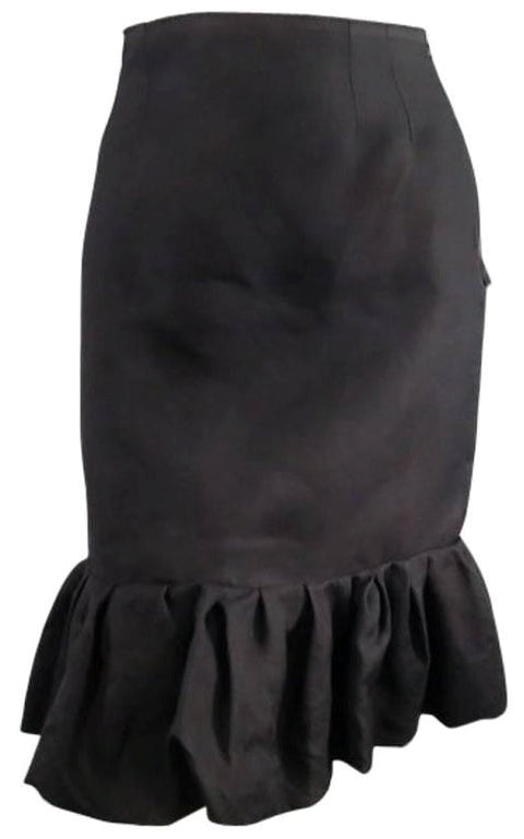 Lanvin Vintage Silk Black Ruffle Hem Pencil Skirt