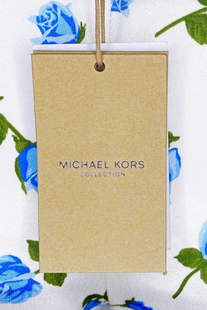 Michael Kors Collection Scattered Rose-Print Duchess Satin Crop Pants