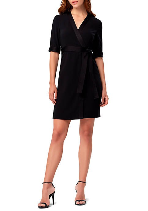 Tahari ASL Crepe de Chine Wrap Dress