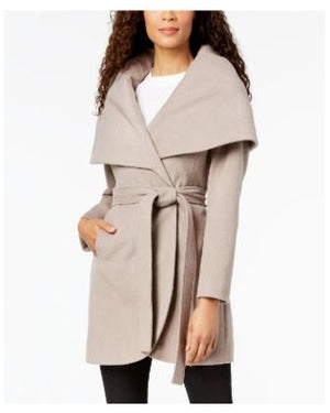 Tahari 'Marla' Brown Belted Wrap Coat