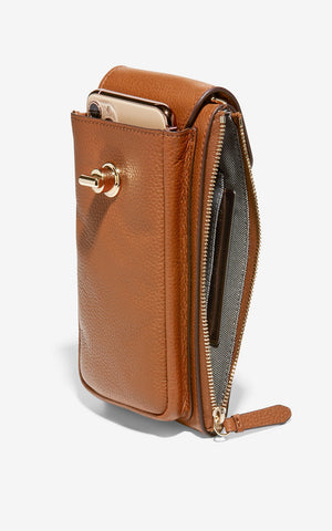Cole Haan Tan Leather Cell Phone Essentials Crossbody