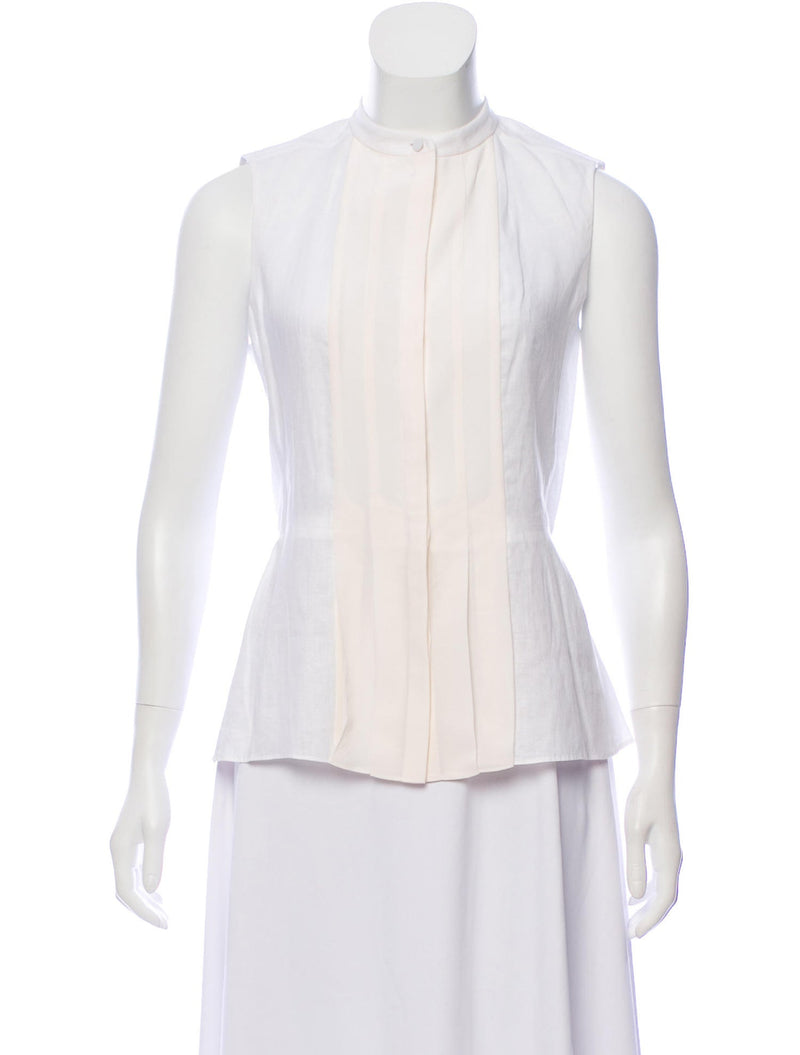 Tory Burch Pleated Linen & Silk Top