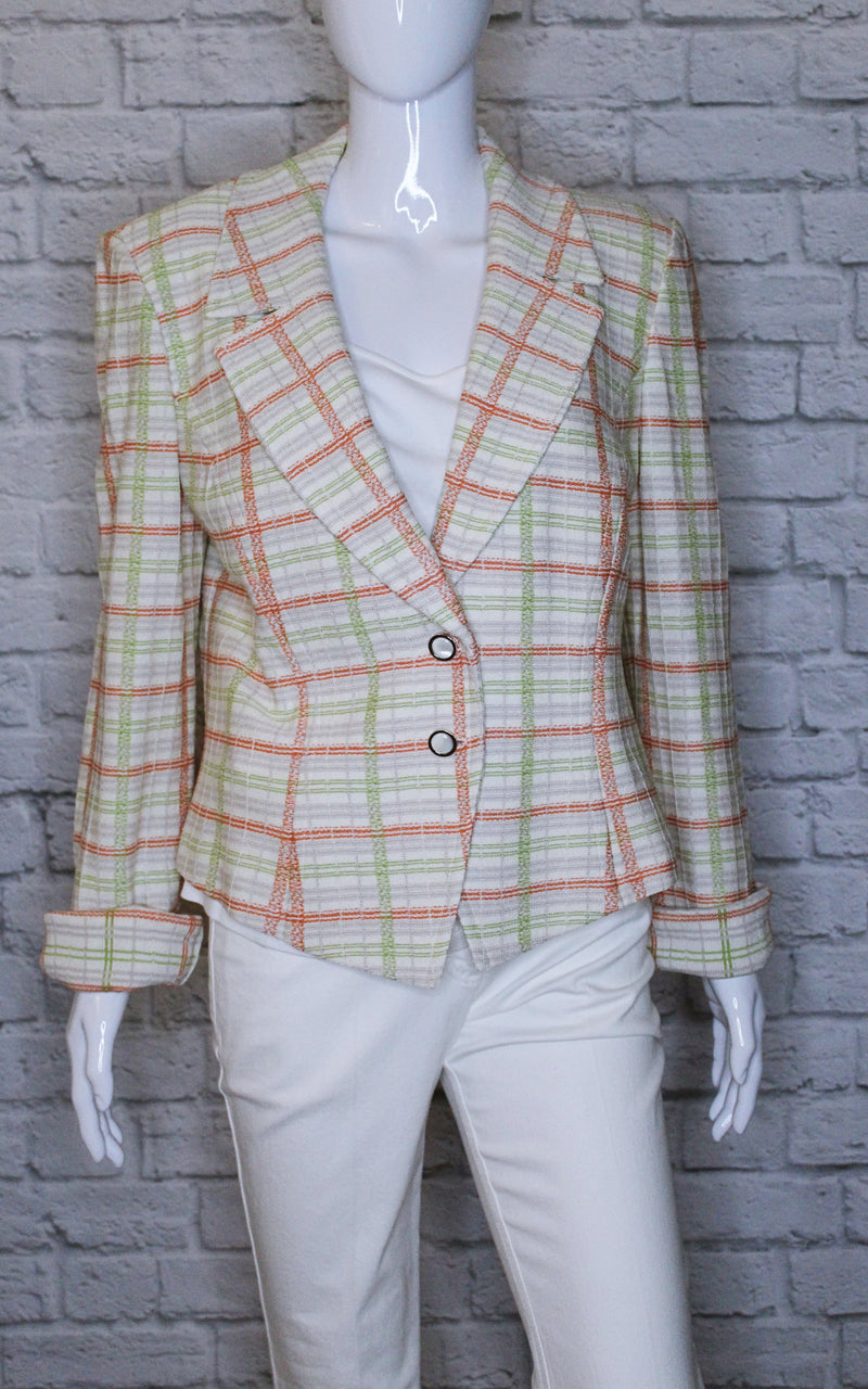 St. John Wool-Blend Plaid Blazer