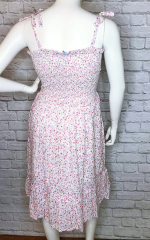 Draper James Pink Floral Smocked Midi Dress