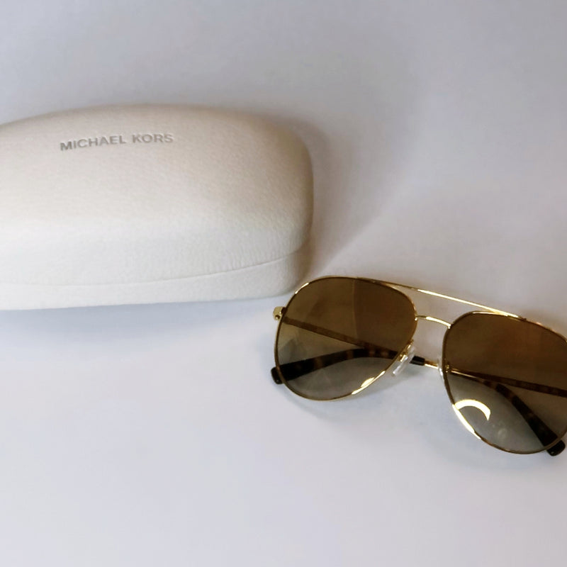 Michael Kors 'Chelsea' Aviator Gold Sunglasses