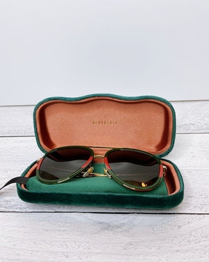 Gucci Unisex Signature Aviator Sunglasses