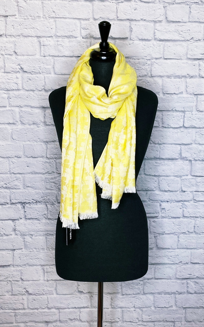 Karl Lagerfeld Yellow Woven Embroidered Scarf