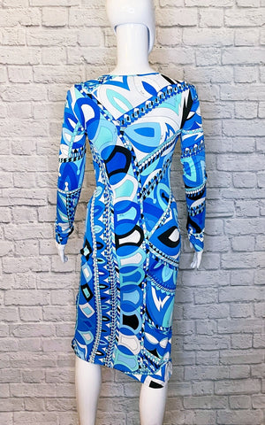 Emilio Pucci Blue Print Silk Jersey Sheath Dress
