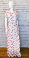 Mikael Aghal Belted Georgette Floral Maxi Dress