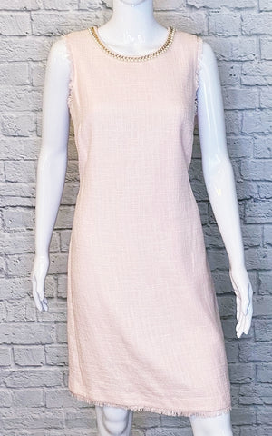 Karl Lagerfeld Pink Tweed Pearl-Neck Shift Dress