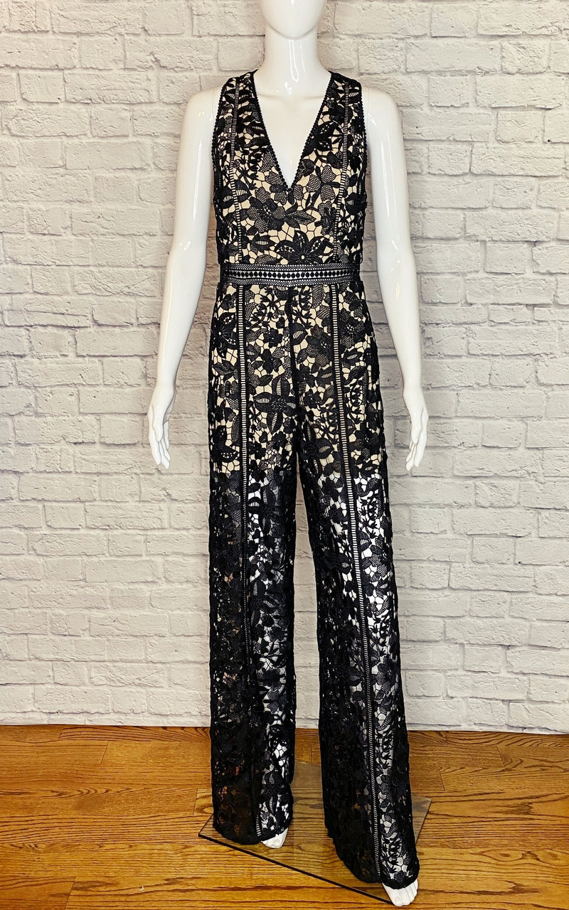 Alice + Olivia 'Chels' Deep-V Wide-Leg Lace Jumpsuit
