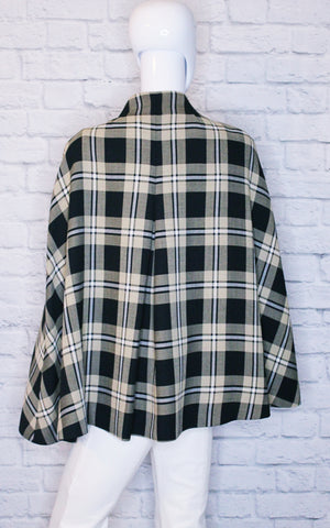Kate Spade New York 'Sophie' Plaid Button-Up Capelet