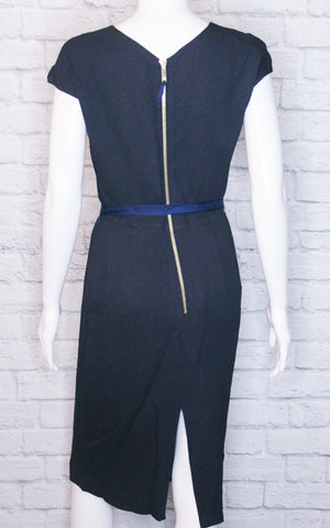 CH Carolina Herrera Navy Cap Sleeve Wool-Blend Dress