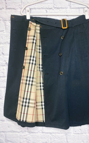 Burberry London Vintage Double-Breasted A-line Skirt