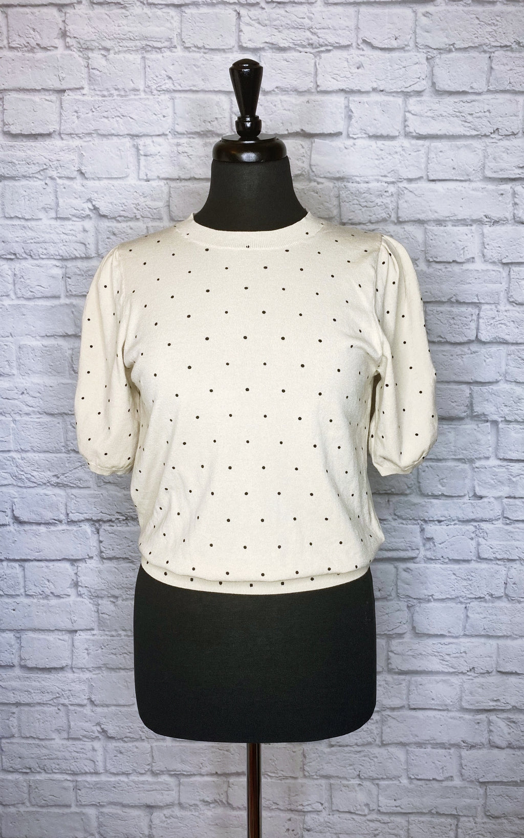 Minnie Rose Puff-Sleeve Polka Dot Sweater