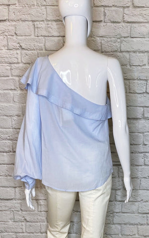 A.L.C. One-Shoulder Carolina Blue Cotton Blouse