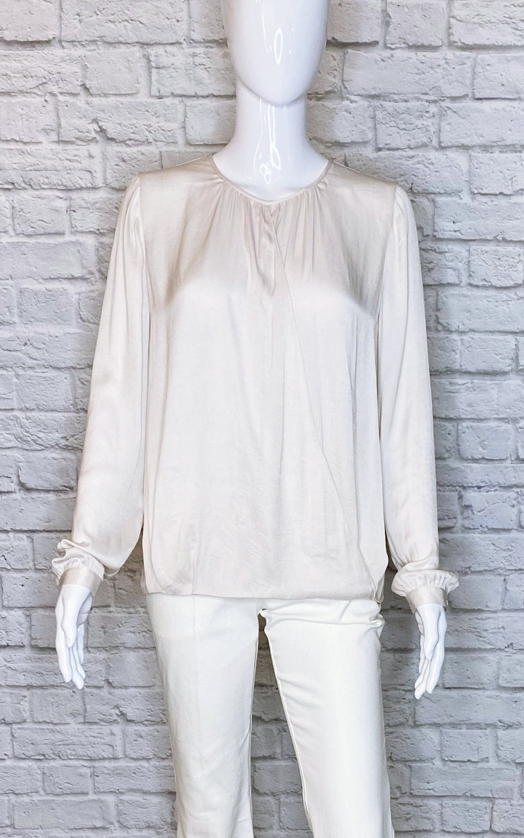 Vince Hint-of -Grey Long-Sleeve Blouse