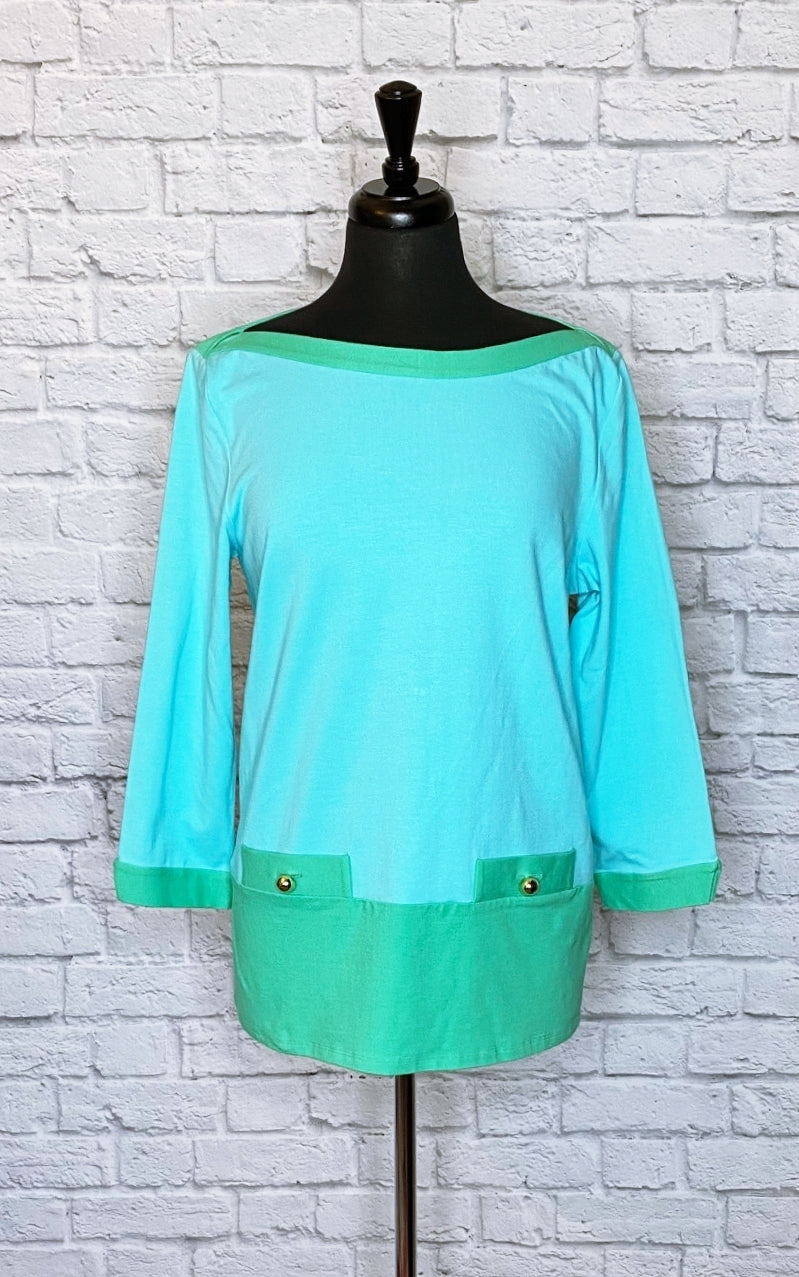 Kate Spade New York Colorblock  Bateau Neck Blouse