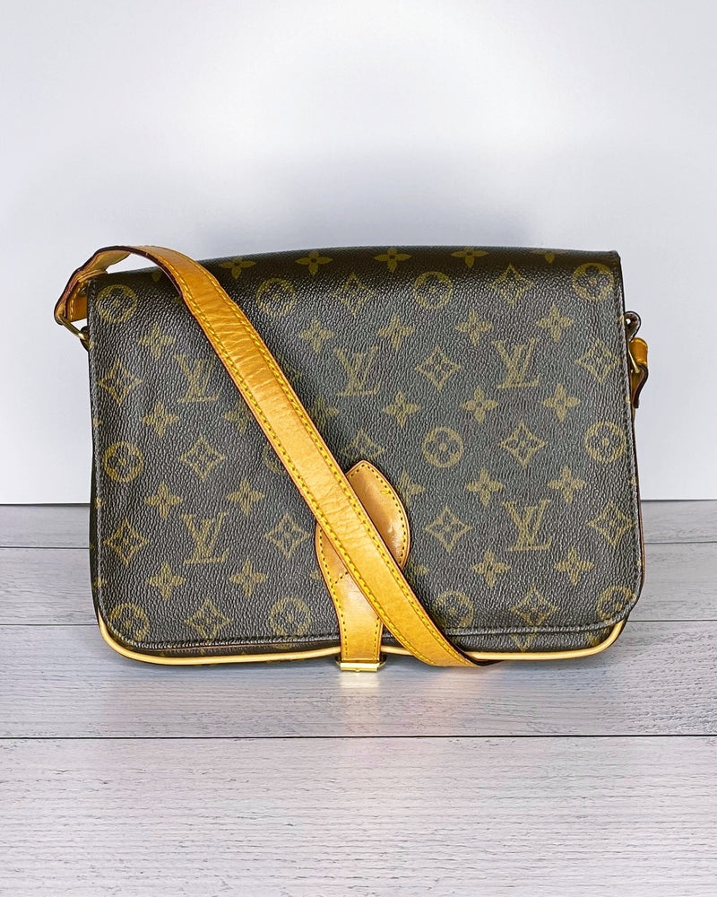 Louis Vuitton Vintage 1970s Monogram Canvas Leather Cartouchiere Shoulder Bag