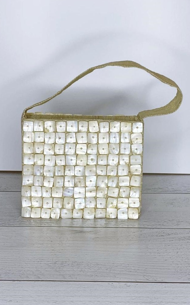 Pierre Urbach Vintage Mother-of-Pearl and White Burlap Satchel Handbag