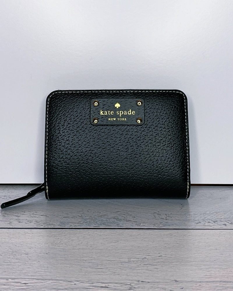 Kate Spade Wellesley 'Cara' Black Pebble Leather Wallet
