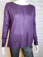 Vince Silk-Cashmere Lightweight Purple Sweater