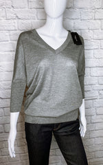Derek Lam Cashmere-Silk Three-Quarter Sleeve V-Neck Sweater