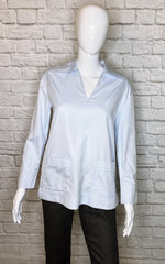 Tory Burch Carolina Blue Long-Sleeve Shift Blouse