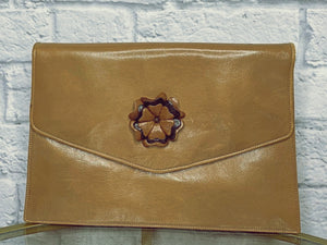 Fendi Vintage 1960s Whiskey Leather Clutch