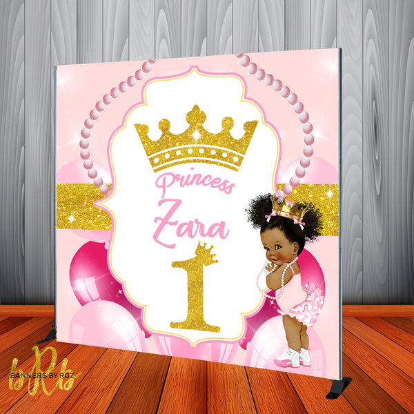 Princess 1st Birthday Party Backdrop Personalized Step & Repeat - Designed, Printed & Shipped!
