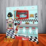50's Diner theme Backdrop Personalized Step & Repeat - Designed, Printed & Shipped!
