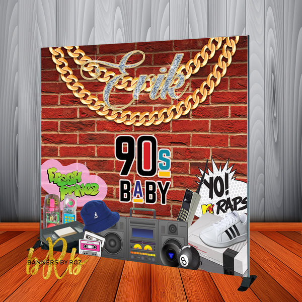 90's Theme Retro Hip Hop Backdrop - Step & Repeat - Designed, Printed & Shipped!