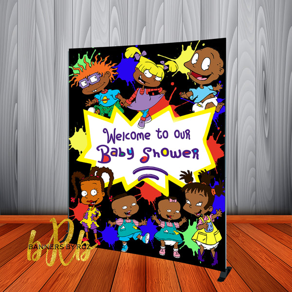 Rugrats African American Birthday Party Backdrop Personalized Step & Repeat - Designed, Printed & Shipped!