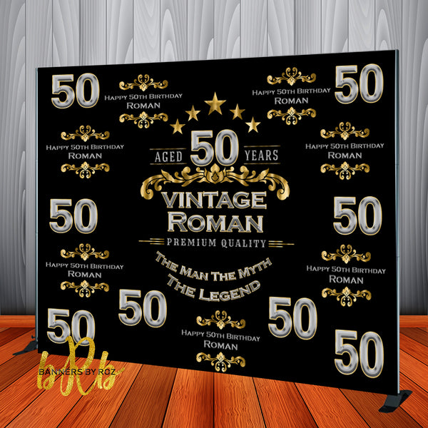 Aged to Perfection Black, Silver and Gold Step and Repeat Backdrop - Designed, Printed & Shipped!