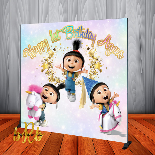 Despicable Me Agnes Pastel  Birthday Party  Backdrop Personalized, Printed & Shipped!