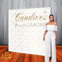 All White Affair Party Backdrop - Step & Repeat - Designed, Printed & Shipped!
