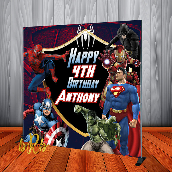Avengers Super Heroes Birthday Backdrop Personalized Step & Repeat - Designed, Printed & Shipped!