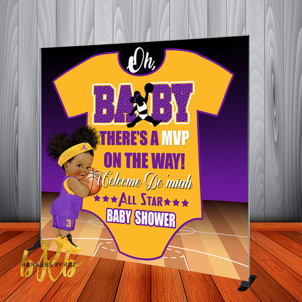 Lakers theme girl Basketball Baby Shower Backdrop Personalized Step & Repeat - Designed, Printed & Shipped!