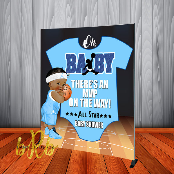 Baby Jordon Baby Shower Blue Backdrop Personalized Step & Repeat - Designed, Printed & Shipped!