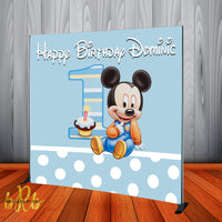 Baby Mickey Mouse Birthday Backdrop Personalized Step & Repeat - Designed, Printed & Shipped!