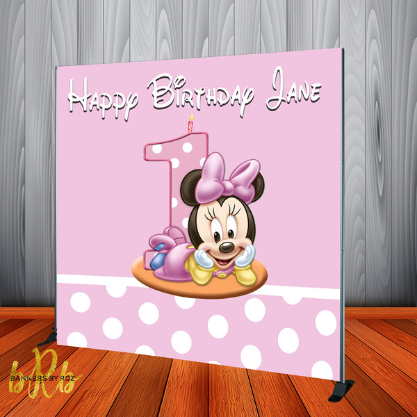 Baby Minnie Mouse Birthday Backdrop Personalized Step & Repeat - Designed, Printed & Shipped!