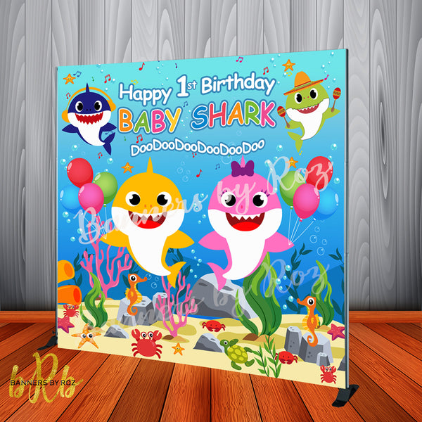 Baby Shark Birthday Party Backdrop Personalized Step & Repeat - Designed, Printed & Shipped!