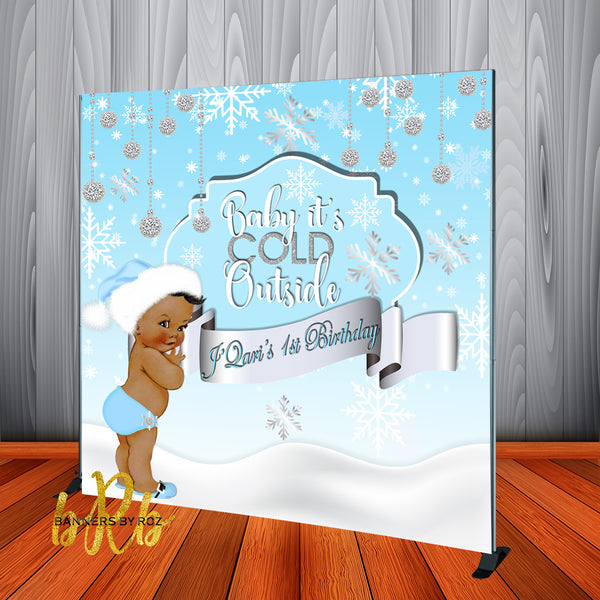 Winter Wonderland Blue Backdrop Personalized Step & Repeat - Designed, Printed & Shipped!